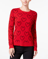 Maison Jules Heart-Print Sweater, Only at Macy's