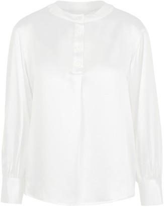 Lindsay Nicholas New York Poet Blouse In White Silk
