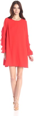Cynthia Steffe CeCe by Women's 3/4 Sleeve Scallop Edge Collared Dress (Ivy)
