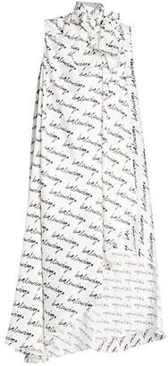 Balenciaga Stola Sleeveless Tieneck Silk Maxi Dress