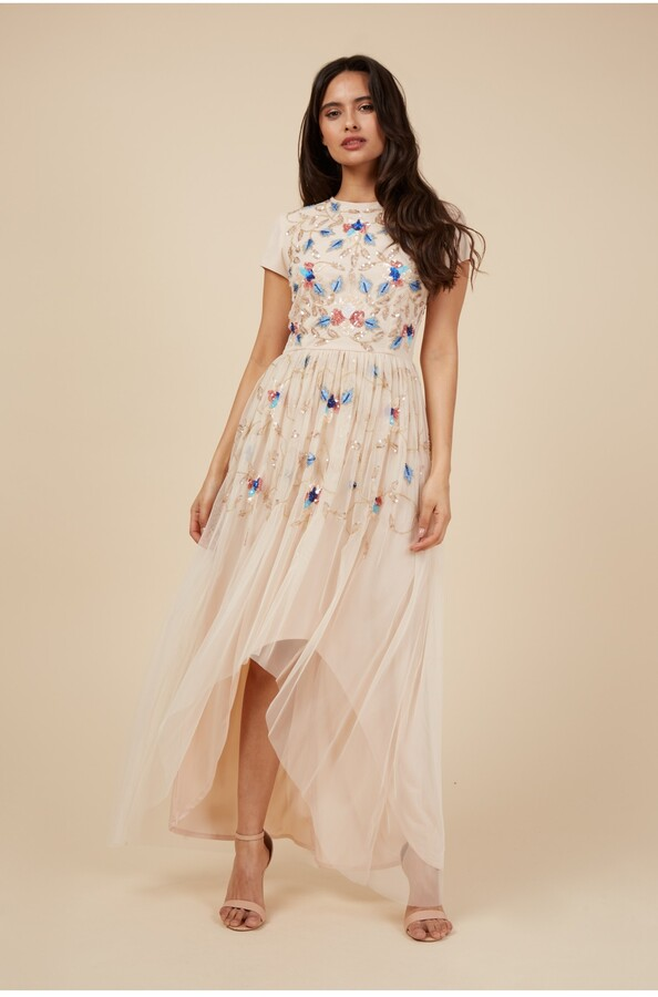 Thumbnail for your product : Little Mistress Nude Embellished Hi Low Dress