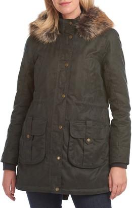 Barbour Homeswood Wax Hooded Faux Fur Trim Raincoat