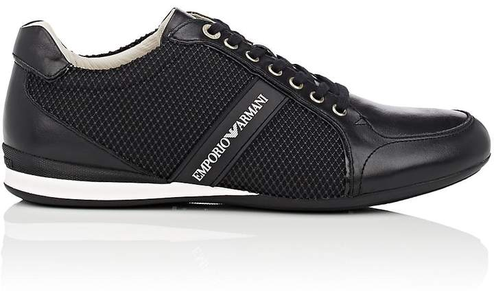 Emporio Armani Men's Rubber-Detailed Leather Sneakers