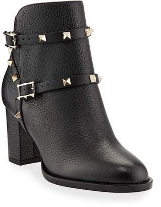 Valentino Garavani Rockstud Leather 70mm Chunky-Heel Bootie