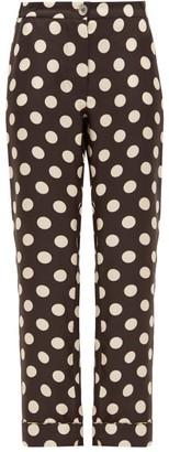 La Prestic Ouiston Polka-dot Silk-twill Straight-leg Trousers - Womens - Black White