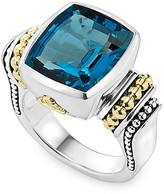 Lagos 18K Gold and Sterling Silver Caviar Color Bezel Ring with London Blue Topaz