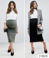 Asos Over The Bump Longer Line Midi Skirt 2 Pack