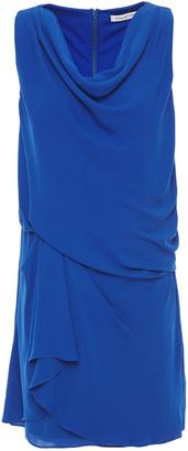 Halston Draped Crepe De Chine Mini Dress