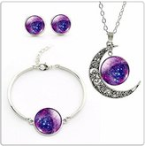 Nobrand No brand Classic Purple Nebula Pendant Necklace Stud Earrings Bracelet Jewelry Sets for women wedding accessories