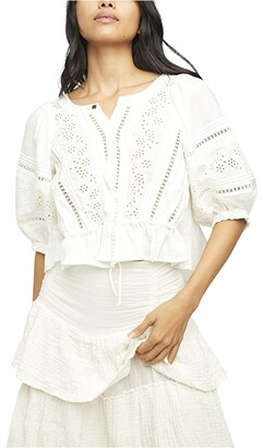 Free People Daisy Chains Eyelet Top (Ivory) Women's Clothing