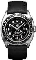 Luminox P-38 LIGHTNINGTM GMT Men's Quartz watch with Black dial featuring LLT light Technology 44 millimeters Stainless Steel case and Black Leather Strap XA.9421
