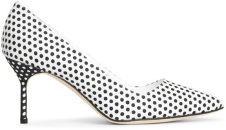 Manolo Blahnik BB 70 linnen polka dot pumps