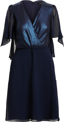 Thumbnail for your product : Ralph Lauren Sequined Cape-Sleeve Chiffon Dress