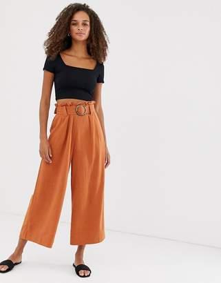 New Look crop trousers with buckle in rust-Orange