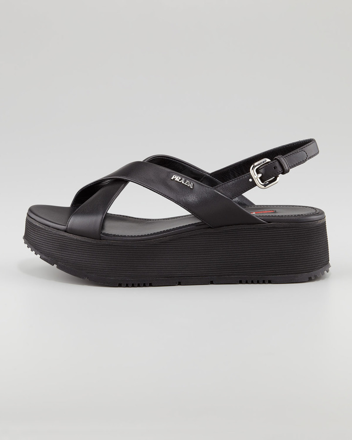 Prada Leather Crossover Platform Sandal, Black