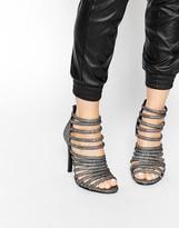 Pieces Foil Multi Strap Heeled Sandals
