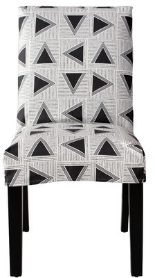 Skyline Furniture Slipcover Dining Chair In Triangle Tile Black White