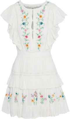 LoveShackFancy Romy Tiered Embroidered Cotton-jacquard Mini Dress
