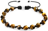Anchor & Crew Brown Tigers Eye Zebedee Silver & Stone Beaded Macrame Bracelet