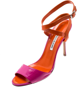 Manolo Blahnik Fuschia Pink /Orange Leather Ankle Strap Sandals Size 40