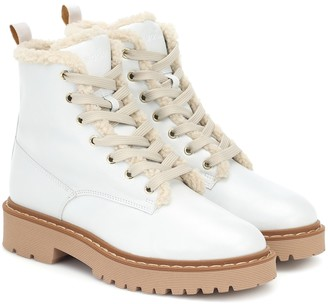 Hogan Leather combat boots