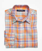 Brooks Brothers Irish Linen Plaid Sport Shirt