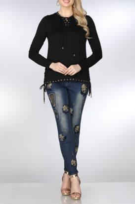 Azi Jeans Jeweled Contrast Denim Jeans