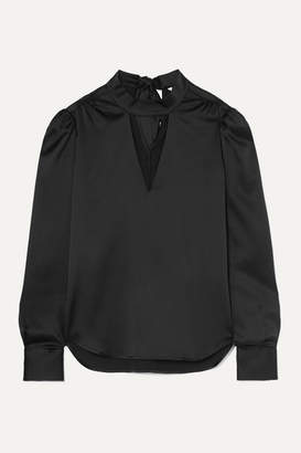 Veronica Beard Wade Cutout Silk-blend Satin Blouse - Black