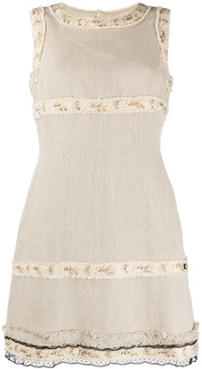 Chanel Pre Owned Frayed Trim Shift Dress