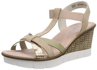 Rieker Women's 65590 Platform Sandals, Multicolour (Kupfer/Altrosa/LightGold)