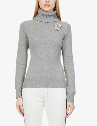 Alexander McQueen Embellished turtleneck cashmere jumper
