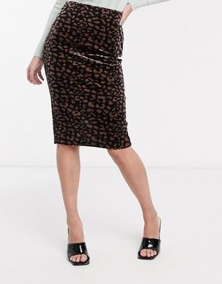 Ichi leopard print midi skirt