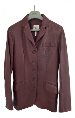 Hermes Burgundy Leather Jackets