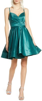 Mac Duggal Satin Fit & Flare Party Dress