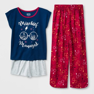Harry Potter Girls' Mischief Managed 3pc Pajama Set - Navy/White/Red
