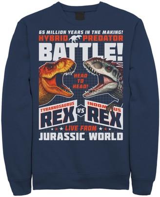 Victoria's Secret Licensed Character Men's Jurassic World T-Rex I-Rex Battle Poster Fleece Graphic Pullover
