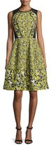 Oscar de la Renta Sleeveless Floral-Print Cocktail Dress, Citron