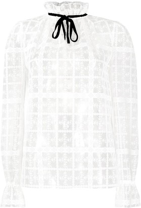 Philosophy di Lorenzo Serafini Embroidered Lace-Up Blouse