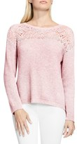 Vince Camuto Pointelle Yoke Sweater (Regular & Petite)