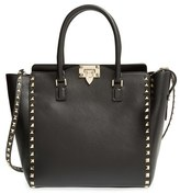 Valentino Garavani 'Rockstud' Leather Double Handle Tote - Black