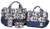 Autohome Set of 4 Multi Function Bag Changing Pad,Milk Bottle Bag Handbag for Baby Mummy- Colored Deep Blue Points