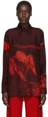 Kwaidan Editions Red Silk Habotai 70s Collar Shirt