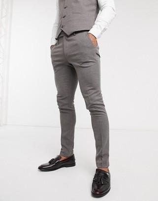 ASOS DESIGN wedding super-skinny suit pants in charcoal micro texture