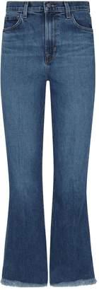 J Brand Julia High-Rise Raw Hem Flared Jeans