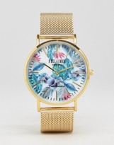 Reclaimed Vintage Floral Mesh Strap Watch In Gold