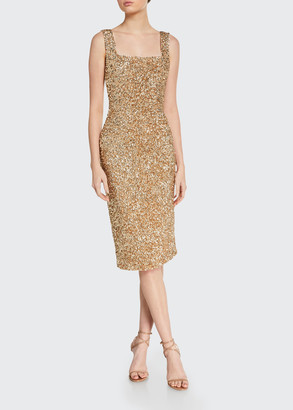 Alice + Olivia Helen Sequined Fitted Square-Neck Dress