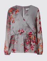 Marks and Spencer Oriental Wrap Long Sleeve Blouse