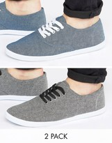 Asos Sneakers In Black And Blue Chambray 2 Pack SAVE