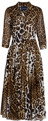 Samantha Sung Aster Animal-Print Cotton Shirtdress