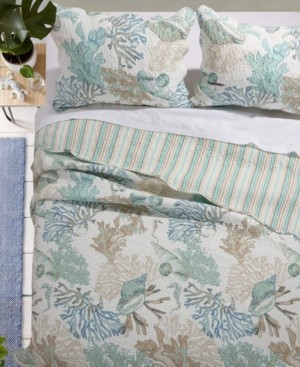 Greenland Home Fashions Atlantis Jade Quilt Set, 3-Piece Full/Queen